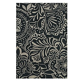 Feizy Floral Indoor/Outdoor Rug in Grey/Black