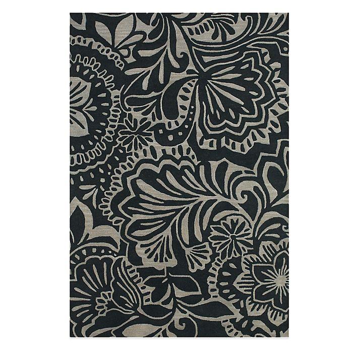 Alternate image 1 for Feizy Floral Indoor/Outdoor Rug in Grey/Black