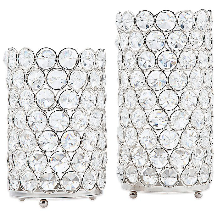 Alternate image 1 for Deco Crystal Hurricane Lamps (Set of 2)