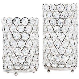 Deco Crystal Hurricane Lamps (Set of 2)
