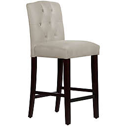 Skyline Furniture Denise Tufted Arched Bar Stool in Velvet Light Grey