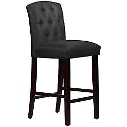 Skyline Furniture Denise Tufted Arched Bar Stool in Shantung Black