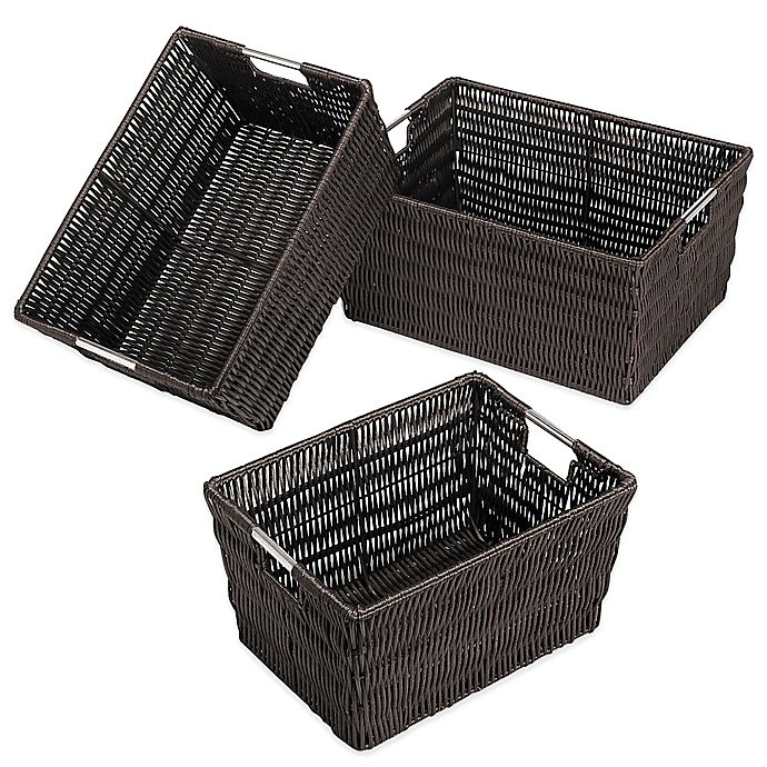 Alternate image 1 for Rattique Storage Baskets (Set of 3)