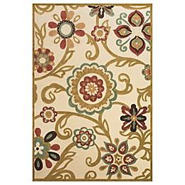Feizy Floral Indoor/Outdoor Rug in Sand/Light Gold