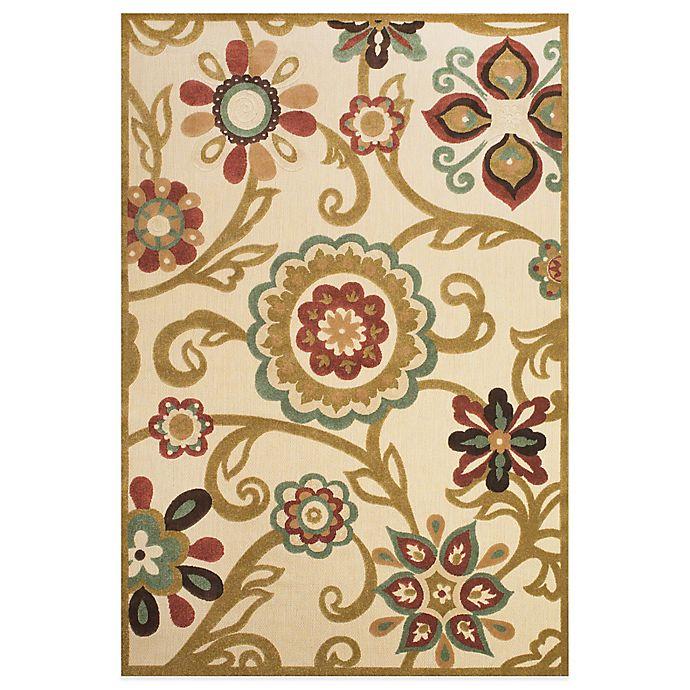 Alternate image 1 for Feizy Floral Indoor/Outdoor Rug in Sand/Light Gold