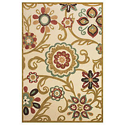 Feizy Floral Indoor/Outdoor Rug in Sand/Light Gold