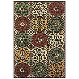 Feizy Floral Circle Indoor/Outdoor Rug in Tan/Brown