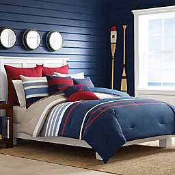 Nautica® Bradford Comforter Set in Navy/Red