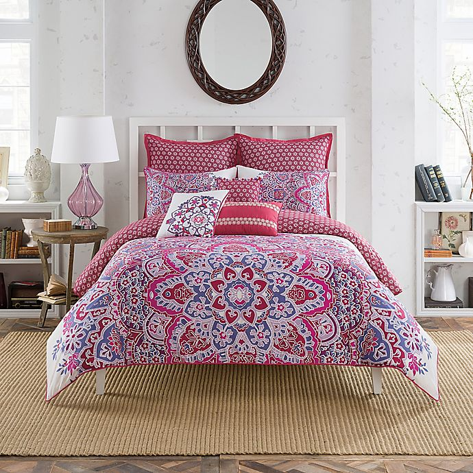 Alternate image 1 for Anthology™ Kaya Reversible Comforter Set in Berry