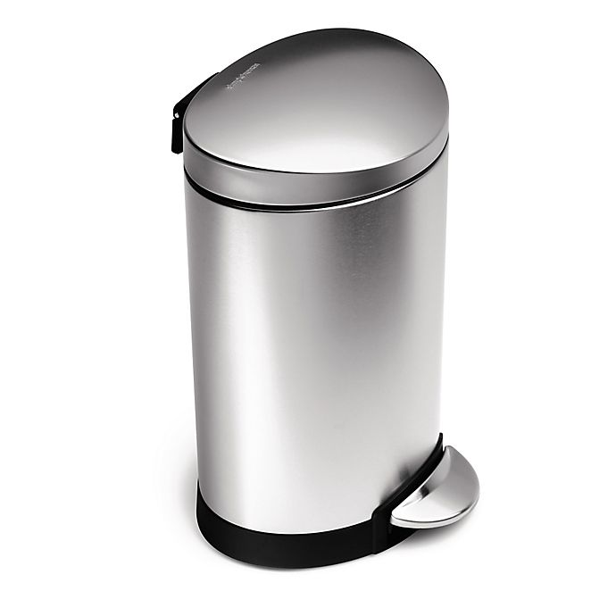Alternate image 1 for simplehuman® Brushed Stainless Steel Fingerprint-Proof 6-Liter Semi-Round Step Can