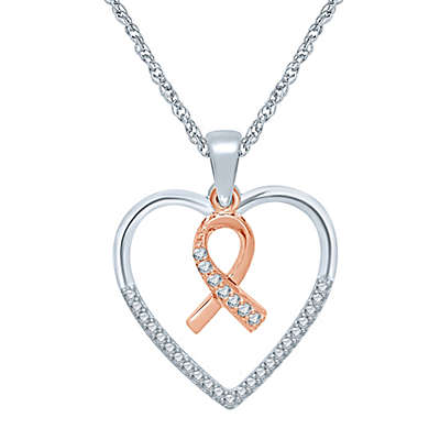 Sterling Silver and 10K Rose Gold .14 cttw Diamond Heart and Ribbon Pendant Necklace