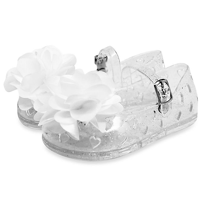 635e08e14 Stepping Stones Glitter Jelly Sandals with Flower Embellishment in Clear