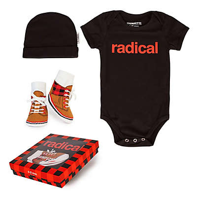 "Trumpette 3-Piece ""Radical"" Bodysuit, Hat & Socks Gift Set in Red/Black"