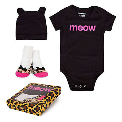 "Trumpette 3-Piece ""Meow"" Bodysuit, Hat & Socks Gift Set in Black"