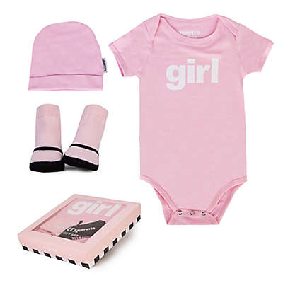 "Trumpette 3-Piece ""Girl"" Bodysuit, Hat & Socks Gift Set in Pink"