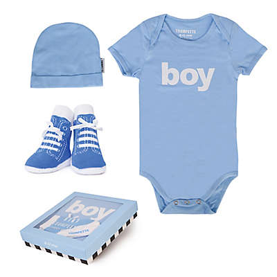 "Trumpette 3-Piece ""Boy"" Bodysuit, Hat & Socks Gift Set in Blue"