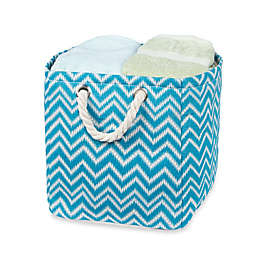 Small Chevron Tote Bin with Rope Handles