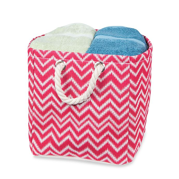 Alternate image 1 for Small Chevron Tote Bin with Rope Handles