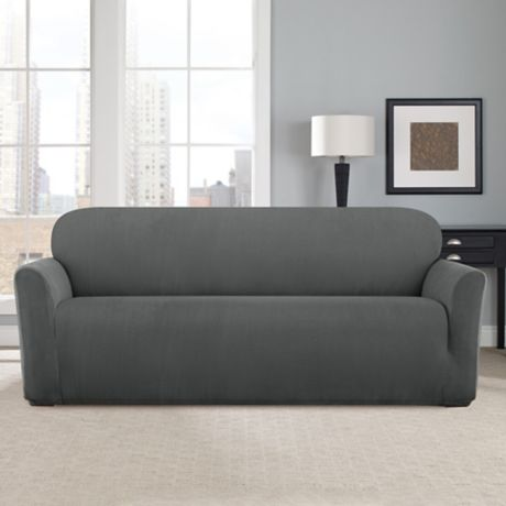 buy sure fit modern chevron sofa slipcover from bed bath beyond. Black Bedroom Furniture Sets. Home Design Ideas