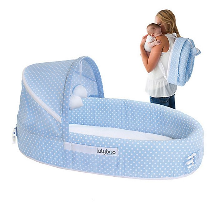 Alternate image 1 for LulyBoo® Baby Lounge To-Go Travel Bed in Blue Dots