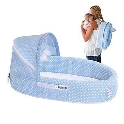LulyBoo® Baby Lounge To-Go Travel Bed in Blue Dots