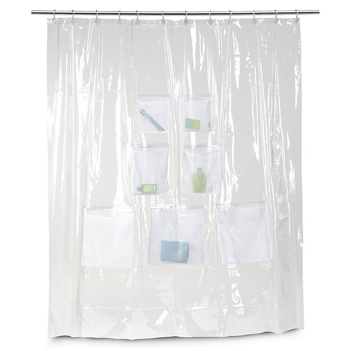 Vinyl Shower Curtain With Mesh Pockets Bed Bath Beyond