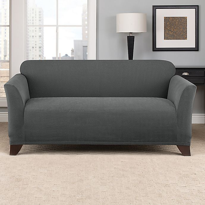 Alternate image 1 for Sure Fit® Modern Chevron Loveseat Slipcover