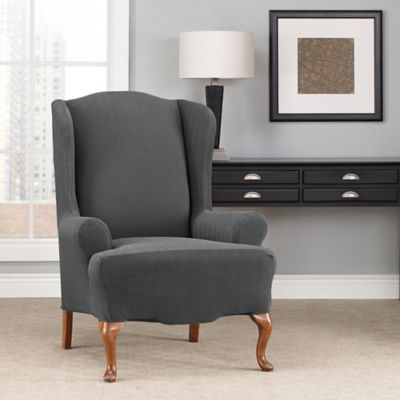 Sure Fit Modern Chevron Wingback Chair, Grey Wingback Chair Slipcover
