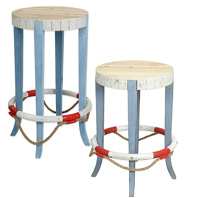 Coastal Life Preserver Wooden Stool In Blue White Bed