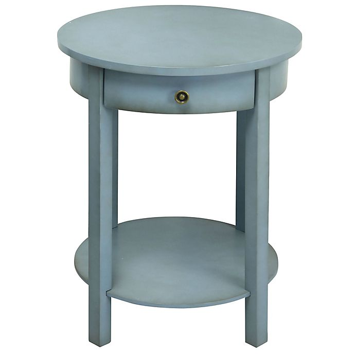 Round 2 Tier Wooden Accent Table In Light Blue Bed Bath