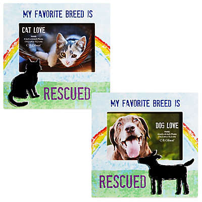 """CR Gibson 8-Inch x 8-Inch """"My Favorite Breed is Rescued"""" Pet Frame with Easel Back"""