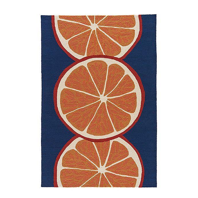 Jaipur Grant Orange Slice Indoor Outdoor Rug In Navy