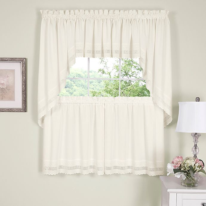 Alternate image 1 for Danielle Embroidered Eyelet 38-Inch Window Swag Pair