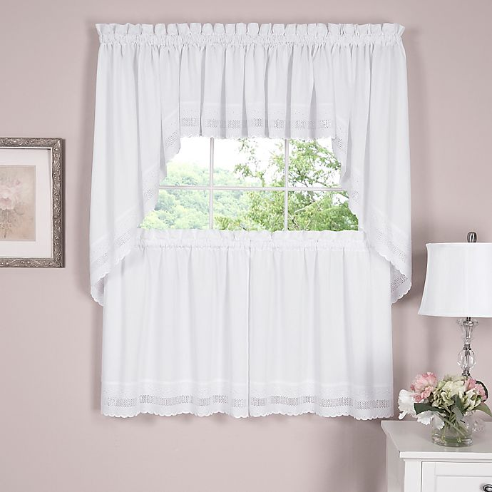 Alternate image 1 for Danielle Embroidered Eyelet 14-Inch Window Valance in White