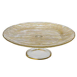 Classic Touch Trophy 13-Inch Glass Pedestal Cake Stand in Gold