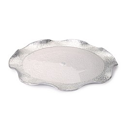 Classic Touch Trophy Wavy Glass Plates in Silver (Set of 4)