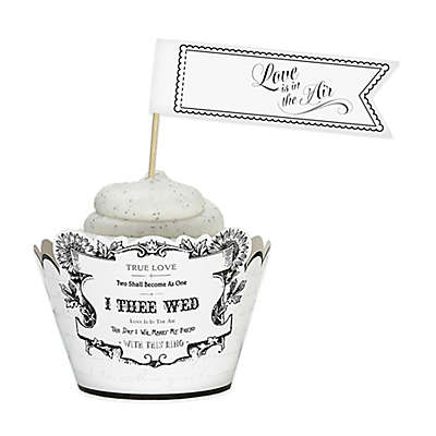 """Lillian Rose™ """"Love is in the Air"""" Cupcake Picks in Black/White (Set of 12)"""