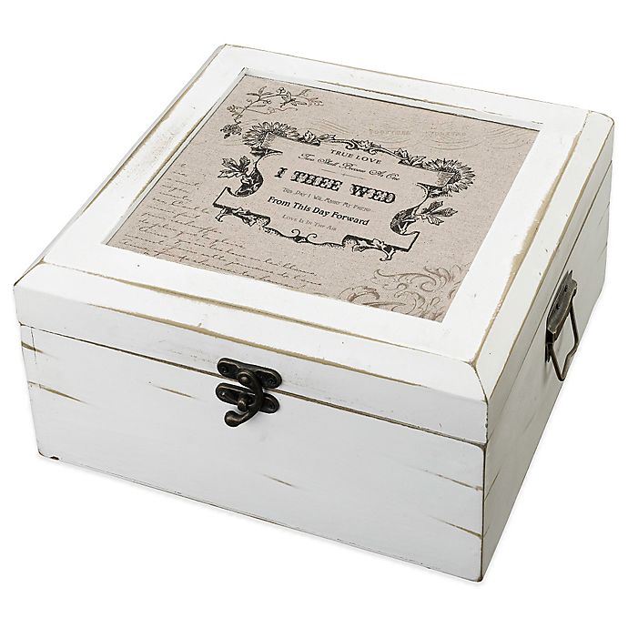 Alternate image 1 for Lillian Rose™ True Love Card Box in Antique White