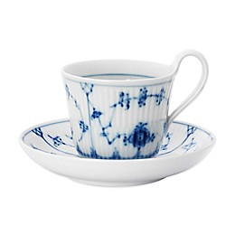 Royal Copenhagen Fluted Plain High Handle Cup and Saucer in Blue