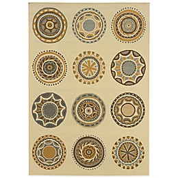 Cabana Bay Bedford Circles Indoor/Outdoor Rug in Ivory/Grey