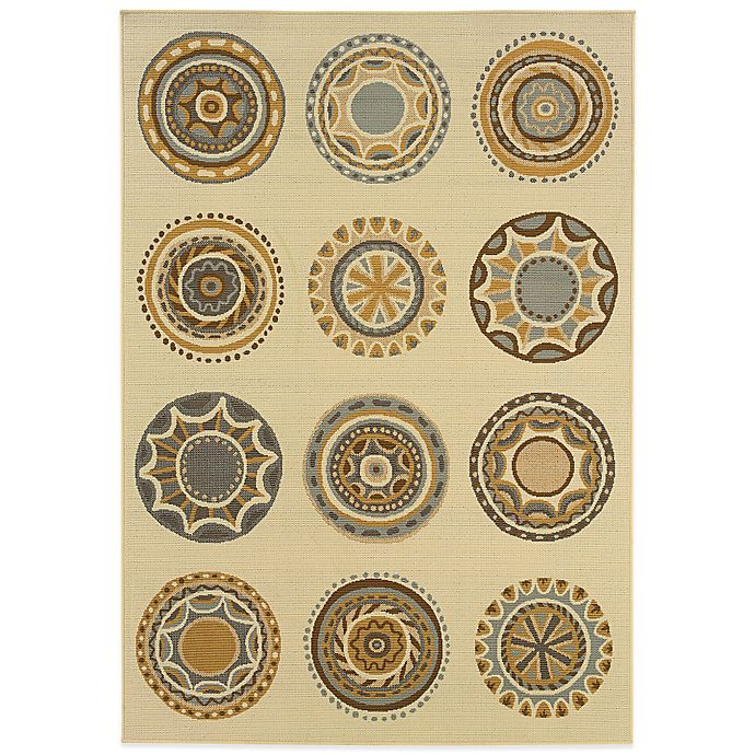 Alternate image 1 for Cabana Bay Bedford Circles 7-Foot 10-Inch x 10-Foot 10-Inch Indoor/Outdoor Rug in Ivory/Grey