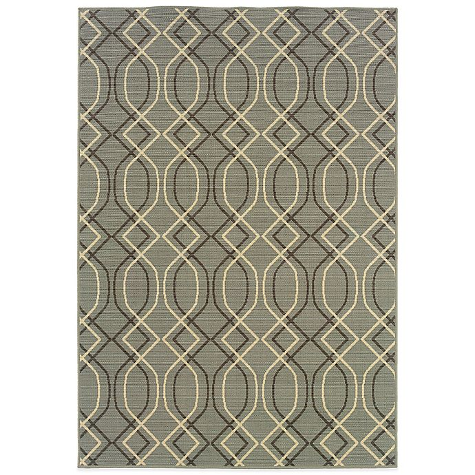 Alternate image 1 for Cabana Bay Bedford Geometric 1-Foot 9-Inch x 3-Foot 9-Inch Indoor/Outdoor Rug in Ivory/Grey