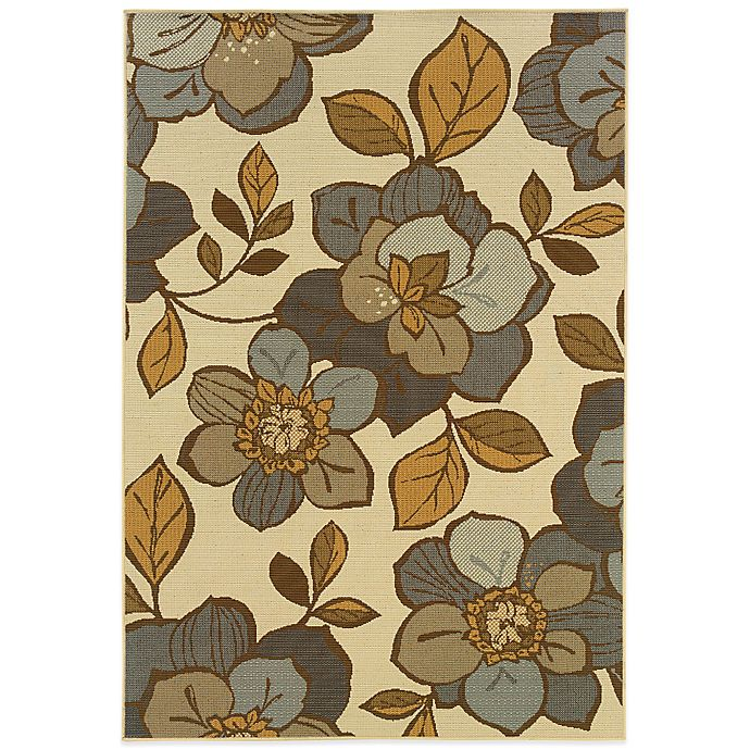 Alternate image 1 for Cabana Bay Bedford Flowers 1-Foot 9-Inch x 3-Foot 9-Inch Indoor/Outdoor Rug in Ivory/Grey