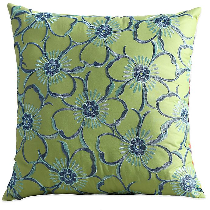 Fiesta Lucia Reversible Square Throw Pillow In Lime Green Bed