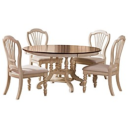 Hillsdale Pine Island Oval Dining Set with Wheat Back Chairs in Old White