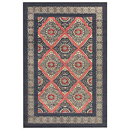 Feizy Saphir Obzeet Circle Border Rugs in Cream/Charcoal