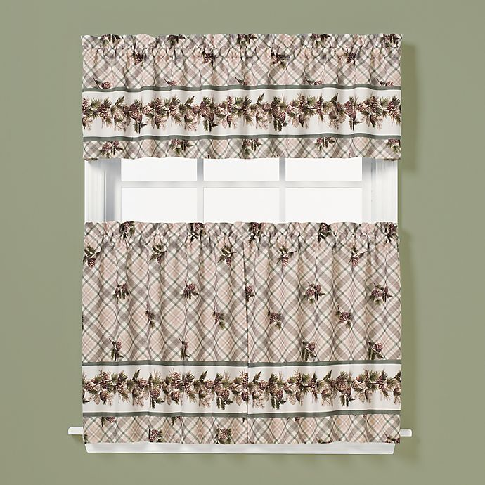 Alternate image 1 for Pinecone 24-Inch Window Curtain Tier Pair in Plaid