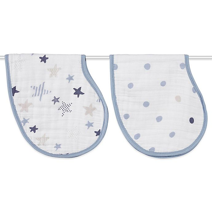 Alternate image 1 for aden + anais® 2-Pack Rock Star Muslin Burpy Bib in Blue