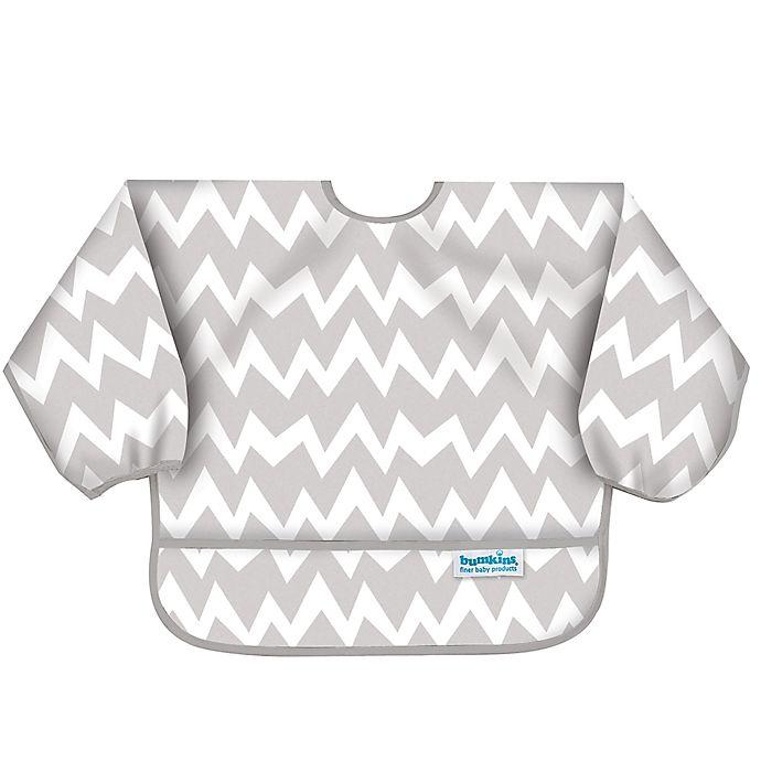 Alternate image 1 for Bumkins® Chevron Long Sleeve Bib in Grey/White