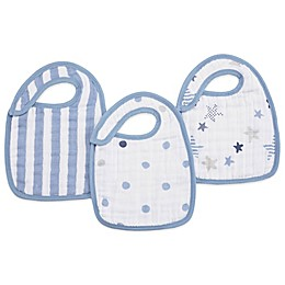 aden + anais® 3-Pack Rock Star Classic Muslin Snap Bib in Blue